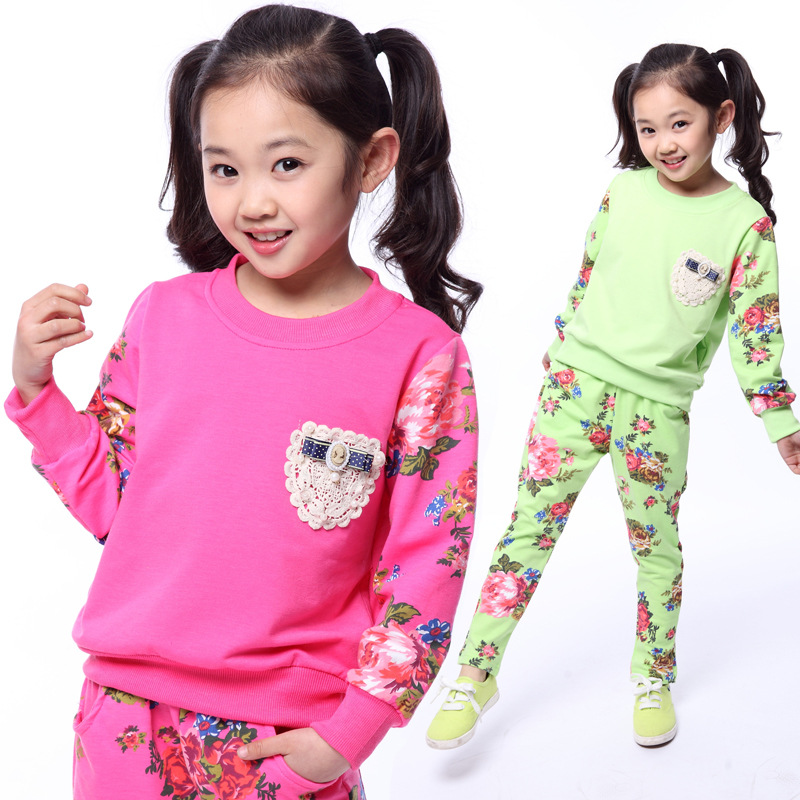 teenage girls fashion name brand kids clothes new arrival 2014 girl fall clothing sets for 2 3 4 5 6 7 8 9 10 11 12 age pink(China (Mainland))