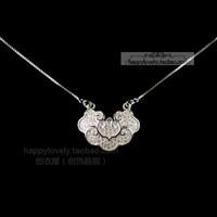 925 pure silver Women full rhinestone longevity lock necklace chain sets chain national trend