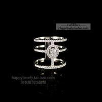 925 pure silver jewelry cutout full rhinestone ring women's finger ring
