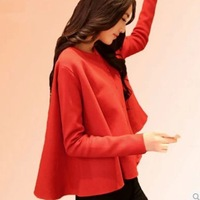 2014 New Women Fashion Cape Poncho Sweater Female Coat Free Size Red Black 01