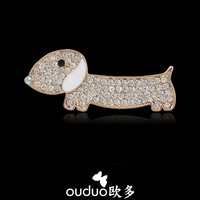 Free Ship Ouduo 2014 New Cartoon Full Rhinestone Dog Brooch Exclusive Female Brooch Male Suit Badge Pin Accessories Jewelry Gift