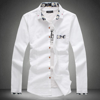 High Quality 2014 New Spring and Autumn Male Long-sleeve Shirt Slim Shirt Cotton Shirt Plus Size M-5XL Free Shipping 9901
