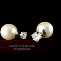 925 pure silver jewelry women's cerkonier shell pearl heatshrinked the anteroposterior earring stud belt anti-allergic