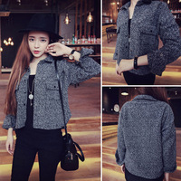 Small black and white velvet slim all-match circle design women's short coat 2014 autumn c3254