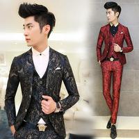Fashion 2014 New ( Jacket + pants + vest ) Men suits slim wedding groom dress men's blazers jacket coats