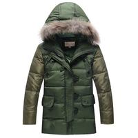 Free shipping retail Child down coat 2014 large fur collar fashion big boy down coat thickening children's clothing down coat