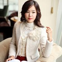 New Arrival  Autumn And Winter Collarless Woolen Short Jacket  Small Suit Coat  Rabbit Fur Corsage Outerwear Girls Blazer