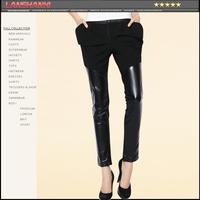 Genuine leather pants nvchen 2014 fashion star sheepskin leather trousers