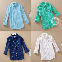 Seagull new female Shirt Blouses 100 cotton dot polo shirt women shirt 7 colors S-XL