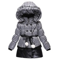 3T to 7 years children girl new 2014 winter fashion plaid hooded long down coat jacket outwear kids thick parka snowsuit clothes
