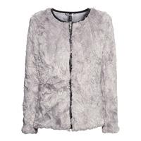 Women Light Gray Zipper Leather PU Border Fur Coat Long-Sleeve O-Neck Autumn And Winter Fur Coat Faux Fur Coat Plus Size 2XL