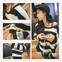 Spring Autumn New Classic coarse horizontal stripe fashion loose pullover o-neck long-sleeve cool cotton sweatshirt