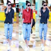 Hot sale top 2014 women blouses summer blouse new long-sleeve vintage shirt female women's shirt button slim shirts