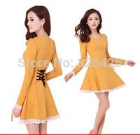 2014 autumn and winter slim long-sleeve dresses lace decoration female gentlewomen princess dress