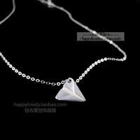 925 pure silver jewelry women's small three-dimensional paper plane pendant necklace chain short design