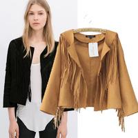 Fashion Women's 2014 Autumn Suede Deer Leather Tassel Short Jacket, Super Cool Girls' Leather Jacket