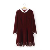 2014 Autumn and Winter Fashion Velvet Cutout Long-sleeve Dress, Elegant Hollow-out Cute Peter Pan Collar Velvet Dress