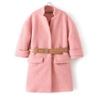 2014 Must Have Super Trendy Double Pockets Loose Woolen Jacket, Women's Three Quarter Sleeve Belted Woolen Overcoat