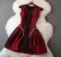 New arrival 2014 women's leopard print slim expansion bottom sleeveless tank dress one-piece dress