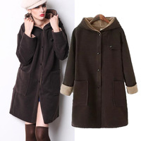 2014 Autumn / Winter Fashion Designer Neutral Style Hooded Jacket, Big Pocket Double Faced Wool Coat with a Hood