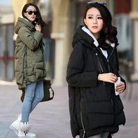 New 2014 Fashion Brand Long Winter Coat Women White Duck Down Jacket Female Parka With Hood Army Green Black Outwear For Women