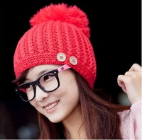 Free shipping Super large sphere knitting yarn thick hat button decoration knitted cap autumn and winter warm hat