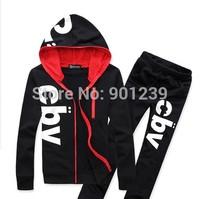2014 free shipping casual mens Long-sleeve sports set cardigan hooded sweatshirt