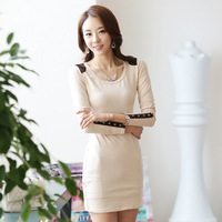 Free Shipping 2014 New Autumn And Winter O-Neck Long-Sleeve Mini Dress Lady Office Work Wear Plus Size S~XXXL Dresses Y014