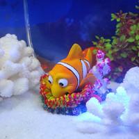 Aquarium mini glass acrylic fish tank decoration oxygen pump toy clown fish Home decoration free shipping
