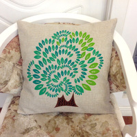 cotton linen love tree cushion cover throw pillow case for sofa home car seats decoration pink green good quality