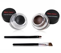 Music flower eyeliner black + brown waterproof black two-color eyeliner cream free shipping