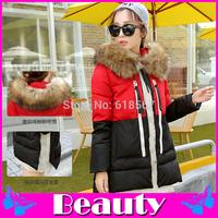 Mixed colors Long sections winter jacket women Thickening Fur collar winter coat Plus size M L XL XXL XXXL women winter jacket