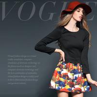 Fashion digital print colorful fashion slim waist one-piece dress