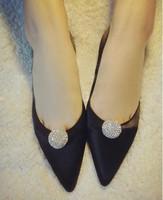 2014 New arrival shiny rhinestone ball flat heel fashion single shoes pointed  toe shallow mouth black comfortable shoes