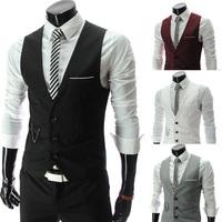 Lowest Price Men's Vests Hot Sale Men's clothing Autumn Male Casual Slim V-neck Vest Suit Vest 4 Colors M~XXL