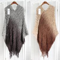 2014 Personality Casual Color Block Decoration Tassel Cloak Sweater Cape Shirt Sweater