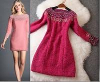 New arrival 2014 Winter women's handmade beading woolen one-piece dress 4-colors