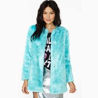 Casual Slim Women Coat Mint Green Fur Coat Medium Style  Desgin Long-Sleeve Faux O-Neck Fur Coat Winter Overcoat XS-XXL