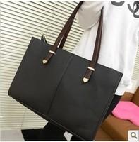 2014 women's handbag vintage preppy style shoulder bag travel bag women's black big bag