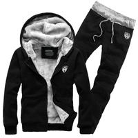 Men's clothing with a hood sweatshirt plus velvet thickening set male sports sweatshirt cardigan outerwear