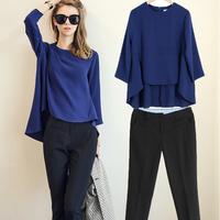 European American style Fashion 2014 Summer Women Temperament Casual Swestshirts Slim Chiffon Blouse Hoodies