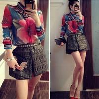New 2014 Fashion Fancy Chiffon Women Sweatshirts High Waist Shorts Set Female Hoodies High Quality