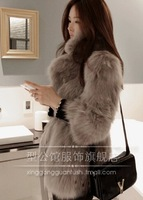 Free shipping Faux Fox fur overcoat suit fur coat three quarter sleeve made in Korea