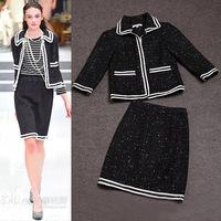 Europe Catwalk Designer Office Clothing Set Women's Turn Down Collar Three Quarter Sleeves Woolen Blends Jacket + Skirt Set