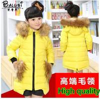 Winter 2014 Children Girls Kids Medium-Long Large Fur Collar Thickening Hooded 90% White Duck Down Jacket Parkas Coat Outerwear