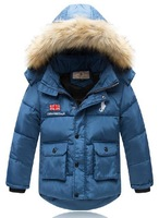Free shipping 2014 brand fashion children baby boys kids hooded down jacket winter high quality thick warm parkas coat outerwear