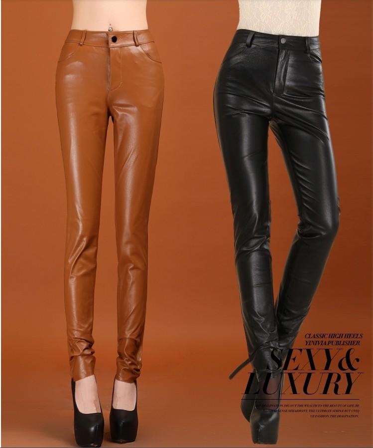 Model Pants Female Full Length Brown Black Leather Pants Trousers For Women