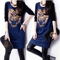 Autumn fashion plus size dress o-neck long-sleeve slim hip elegant  one-piece dress