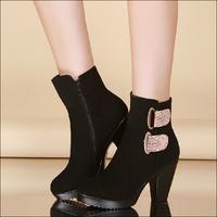2014 autumn fashion short women boots female side zipper high heels metal decoration round toe spring and autumn boots women