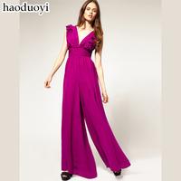 2014 Purplish red fashion sexy V-neck ruffle hem chiffon female jumpsuit bodysuit